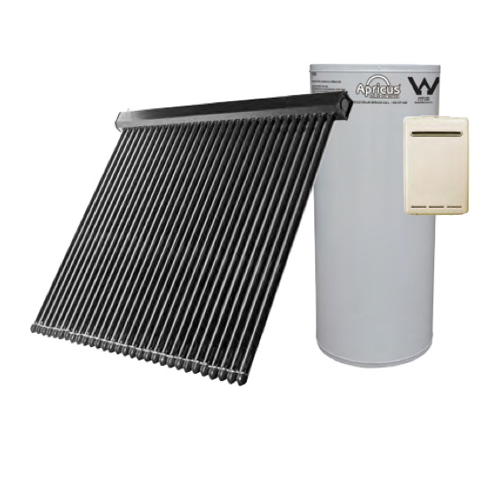 Apricus Evacuated Tube Solar Hot Water (Glass Lined Tank & Gas Boost)
